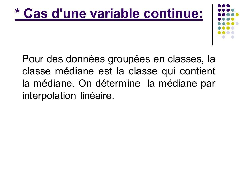 * Cas d'une variable continue: Pour des données groupées en classes, la classe médiane est la classe qui contient la médiane. On détermine la médiane