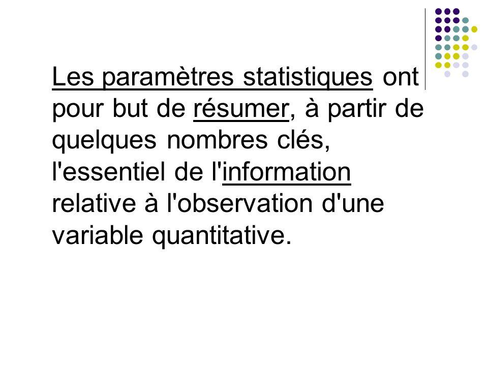Les paramètres statistiques ont pour but de résumer, à partir de quelques nombres clés, l'essentiel de l'information relative à l'observation d'une va