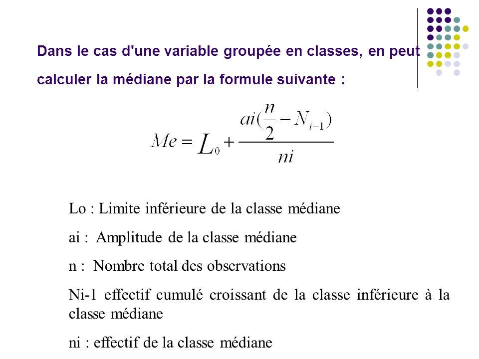 Dans le cas d'une variable groupée en classes, en peut calculer la médiane par la formule suivante : Lo : Limite inférieure de la classe médiane ai :