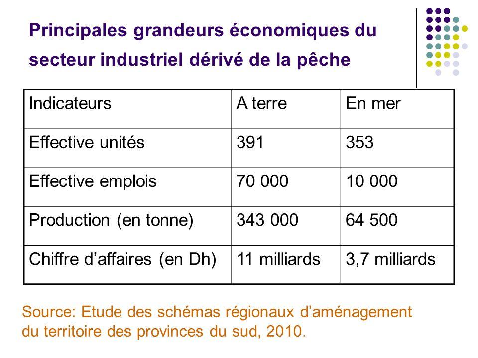 Principales grandeurs économiques du secteur industriel dérivé de la pêche IndicateursA terreEn mer Effective unités391353 Effective emplois70 00010 0