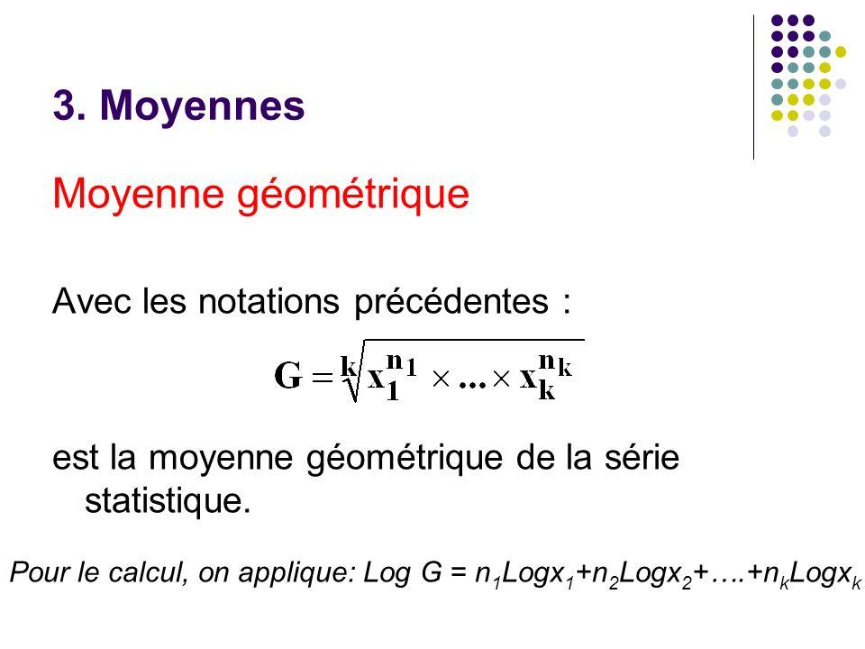 3. Moyennes Moyenne géométrique Avec les notations précédentes : est la moyenne géométrique de la série statistique. Pour le calcul, on applique: Log