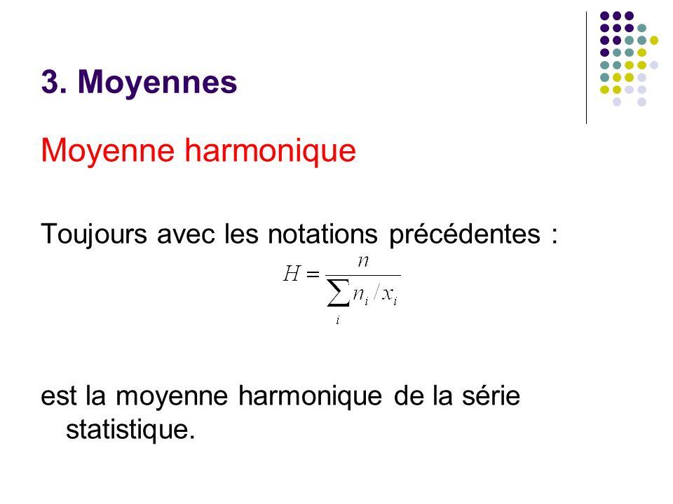 3. Moyennes Moyenne harmonique Toujours avec les notations précédentes : est la moyenne harmonique de la série statistique.