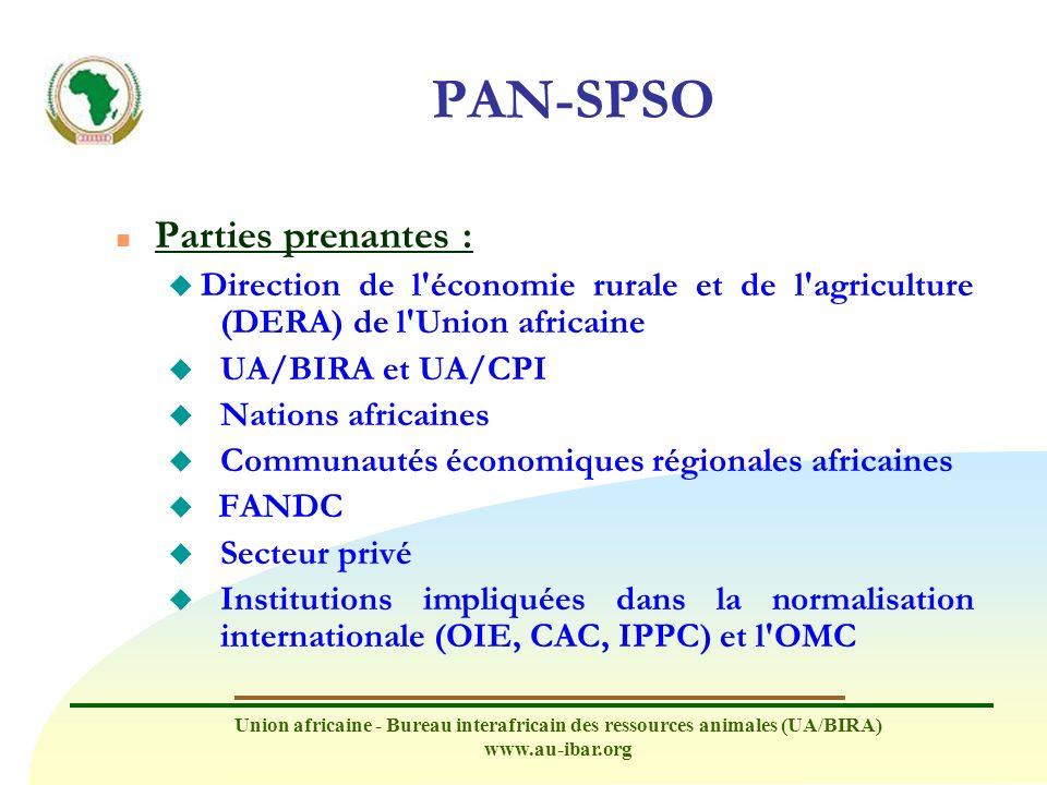 Union africaine - Bureau interafricain des ressources animales (UA/BIRA) www.au-ibar.org PAN-SPSO n Parties prenantes : u Direction de l'économie rura