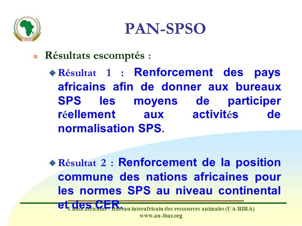 Union africaine - Bureau interafricain des ressources animales (UA/BIRA) www.au-ibar.org PAN-SPSO n Résultats escomptés : u Résultat 1 : Renforcement