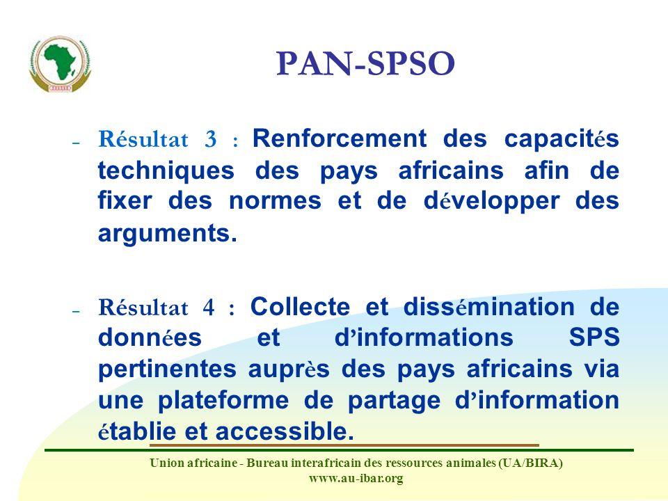 Union africaine - Bureau interafricain des ressources animales (UA/BIRA) www.au-ibar.org PAN-SPSO – Résultat 3 : Renforcement des capacit é s techniqu