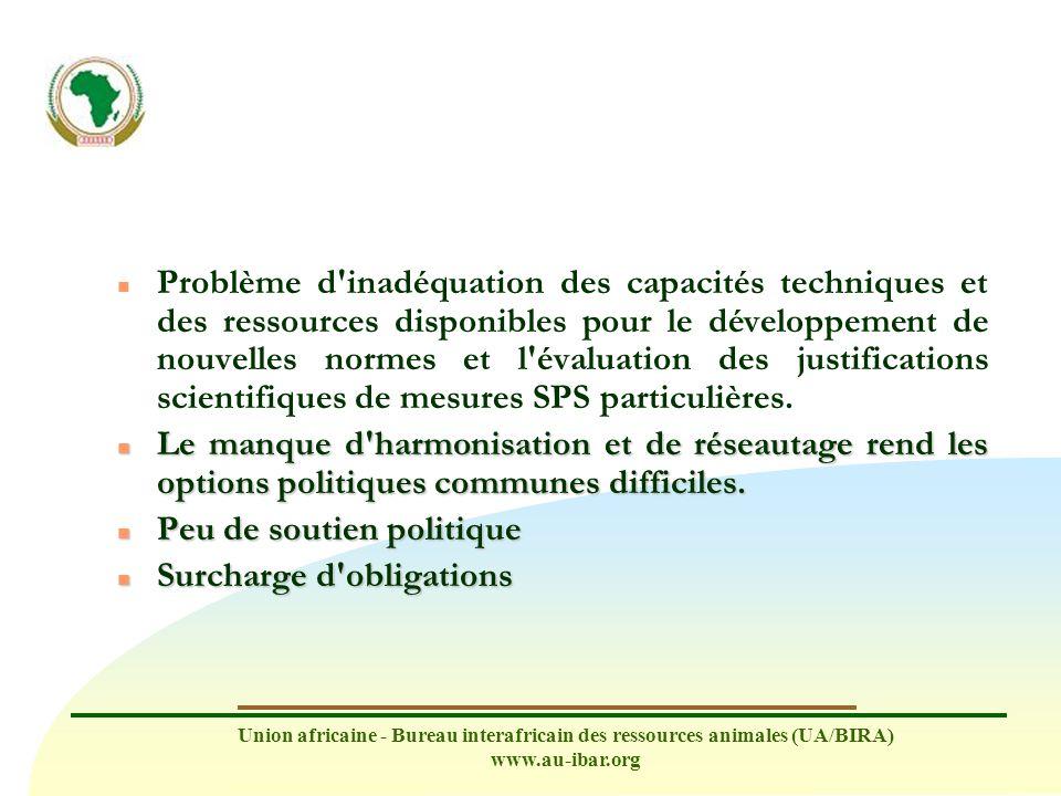 Union africaine - Bureau interafricain des ressources animales (UA/BIRA) www.au-ibar.org n Problème d'inadéquation des capacités techniques et des res