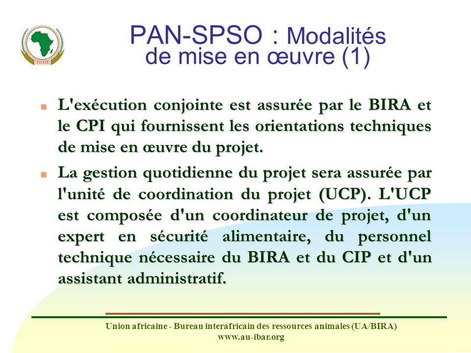 Union africaine - Bureau interafricain des ressources animales (UA/BIRA) www.au-ibar.org PAN-SPSO : Modalités de mise en œuvre (1) n L'exécution conjo