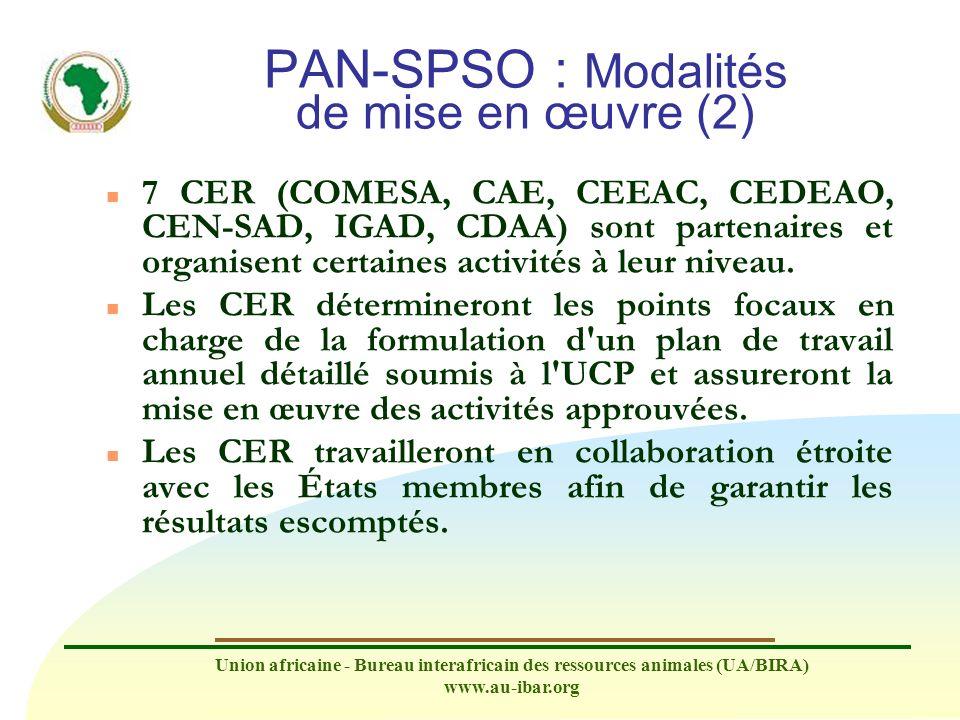 Union africaine - Bureau interafricain des ressources animales (UA/BIRA) www.au-ibar.org PAN-SPSO : Modalités de mise en œuvre (2) n 7 CER (COMESA, CA