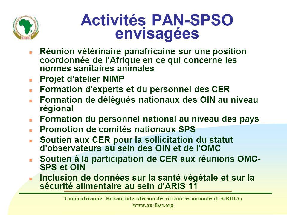 Union africaine - Bureau interafricain des ressources animales (UA/BIRA) www.au-ibar.org Activités PAN-SPSO envisagées n Réunion vétérinaire panafrica