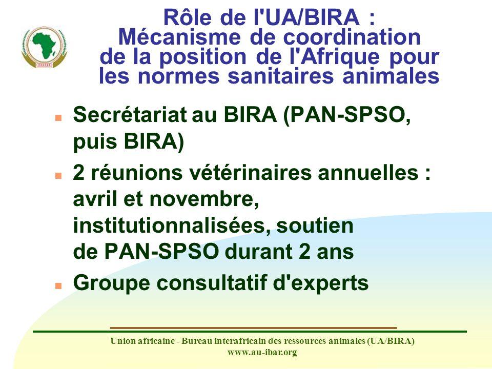 Union africaine - Bureau interafricain des ressources animales (UA/BIRA) www.au-ibar.org Rôle de l'UA/BIRA : Mécanisme de coordination de la position