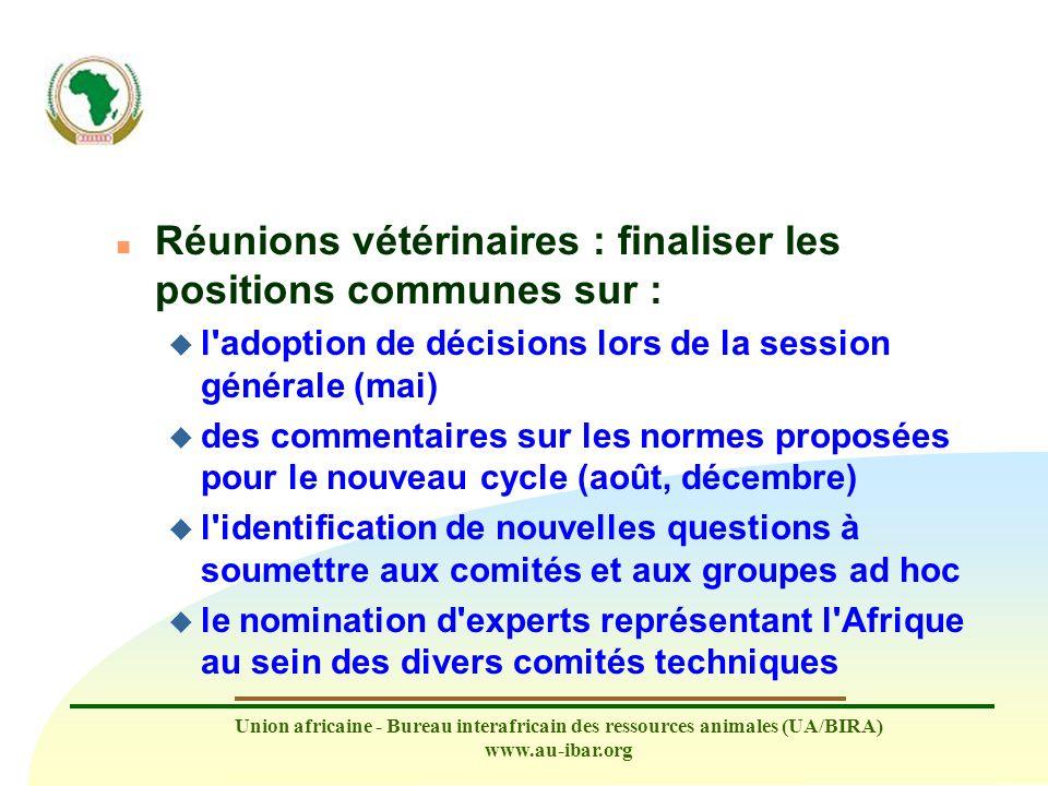 Union africaine - Bureau interafricain des ressources animales (UA/BIRA) www.au-ibar.org n Réunions vétérinaires : finaliser les positions communes su