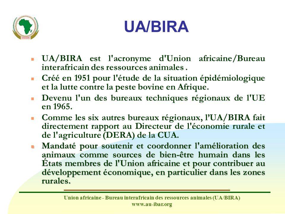 Union africaine - Bureau interafricain des ressources animales (UA/BIRA) www.au-ibar.org UA/BIRA n L approche de lUA/BIRA du développement des ressources animales adopte trois angles stratégiques : la santé animale, la production animale et le commerce de produits d origine animale.