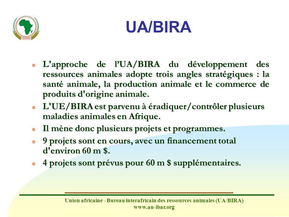 Union africaine - Bureau interafricain des ressources animales (UA/BIRA) www.au-ibar.org Orientations déterminantes n Le projet travaille en étroite collaboration avec les OIN, ainsi qu avec d autres organisations telles que la FANDC, la FAO et USAID, afin de construire des synergies, d éviter le dédoublement d efforts, d améliorer la participation des pays africains aux activités des OIN et de tirer parti des réunions régionales et des bases de données, des TdR et des manuels existants.