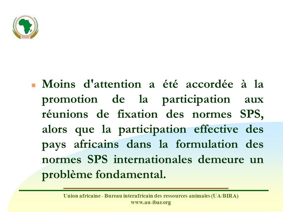 Union africaine - Bureau interafricain des ressources animales (UA/BIRA) www.au-ibar.org n La secrétariat sollicite la contribution d experts africains (à déterminer) pour des questions portant sur des propositions d amendements (réunions de septembre et de mars).