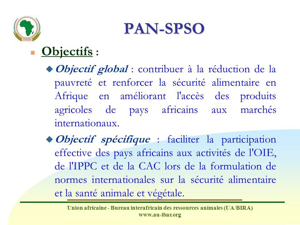 Union africaine - Bureau interafricain des ressources animales (UA/BIRA) www.au-ibar.org PAN-SPSO n Pays bénéficiaires : États membres ACP de l Union africaine : u membres de l OMC u participant aux activités de l OIE, de l IPPC et de la CAC u membres d une des huit communautés économiques régionales (CER) reconnues