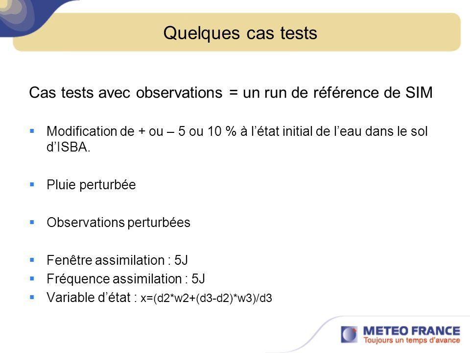 Quelques cas tests Cas tests avec observations = un run de référence de SIM Modification de + ou – 5 ou 10 % à létat initial de leau dans le sol dISBA