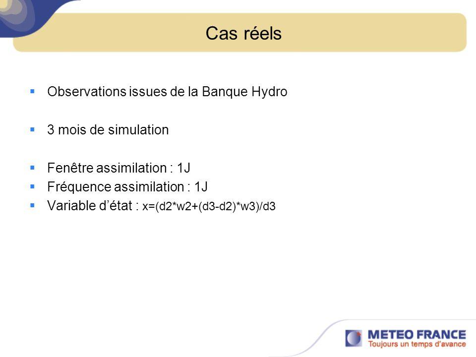 Cas réels Observations issues de la Banque Hydro 3 mois de simulation Fenêtre assimilation : 1J Fréquence assimilation : 1J Variable détat : x=(d2*w2+