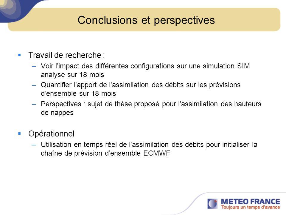 Conclusions et perspectives Travail de recherche : –Voir limpact des différentes configurations sur une simulation SIM analyse sur 18 mois –Quantifier