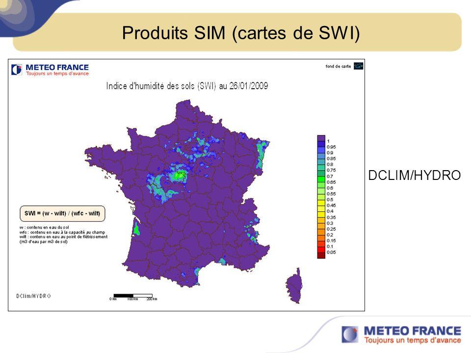 Produits SIM (cartes de SWI) DCLIM/HYDRO