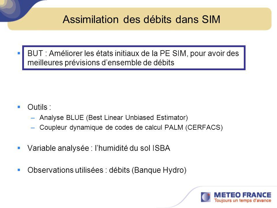 Assimilation des débits dans SIM BUT : Améliorer les états initiaux de la PE SIM, pour avoir des meilleures prévisions densemble de débits Outils : –A
