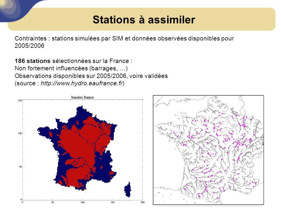 Stations à assimiler Contraintes : stations simulées par SIM et données observées disponibles pour 2005/2006 186 stations sélectionnées sur la France