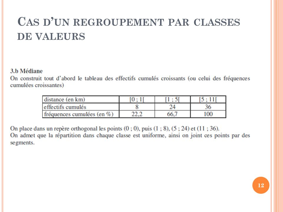 C AS D UN REGROUPEMENT PAR CLASSES DE VALEURS 12