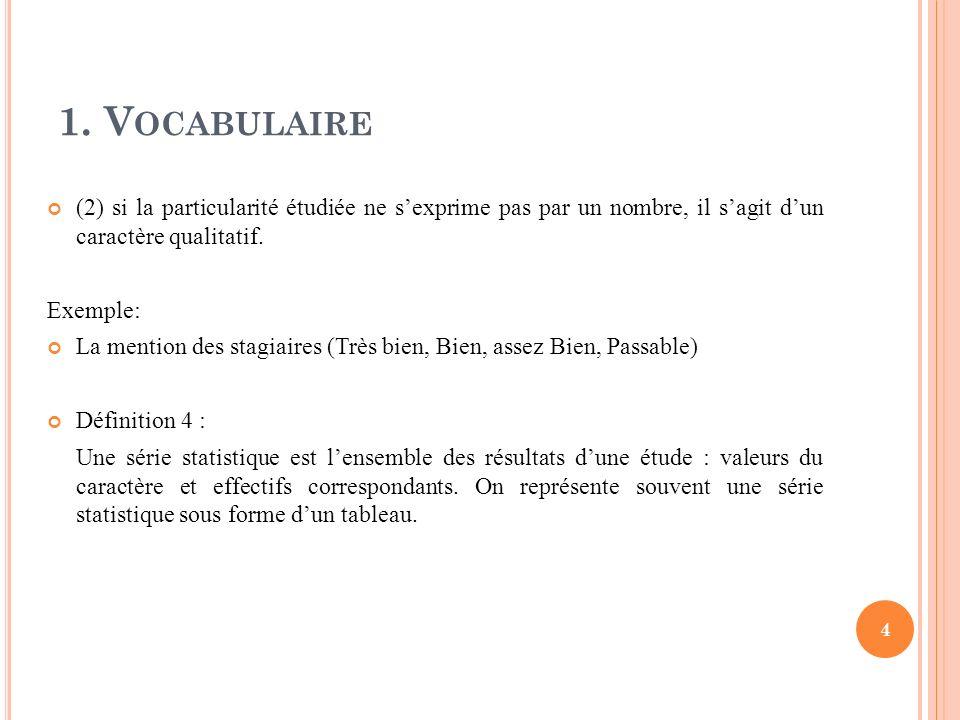 1. V OCABULAIRE 4 (2) si la particularité étudiée ne sexprime pas par un nombre, il sagit dun caractère qualitatif. Exemple: La mention des stagiaires