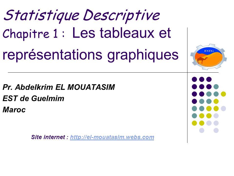 Statistique Descriptive Chapitre 1 : Les tableaux et représentations graphiques Pr. Abdelkrim EL MOUATASIM EST de Guelmim Maroc Site internet : http:/