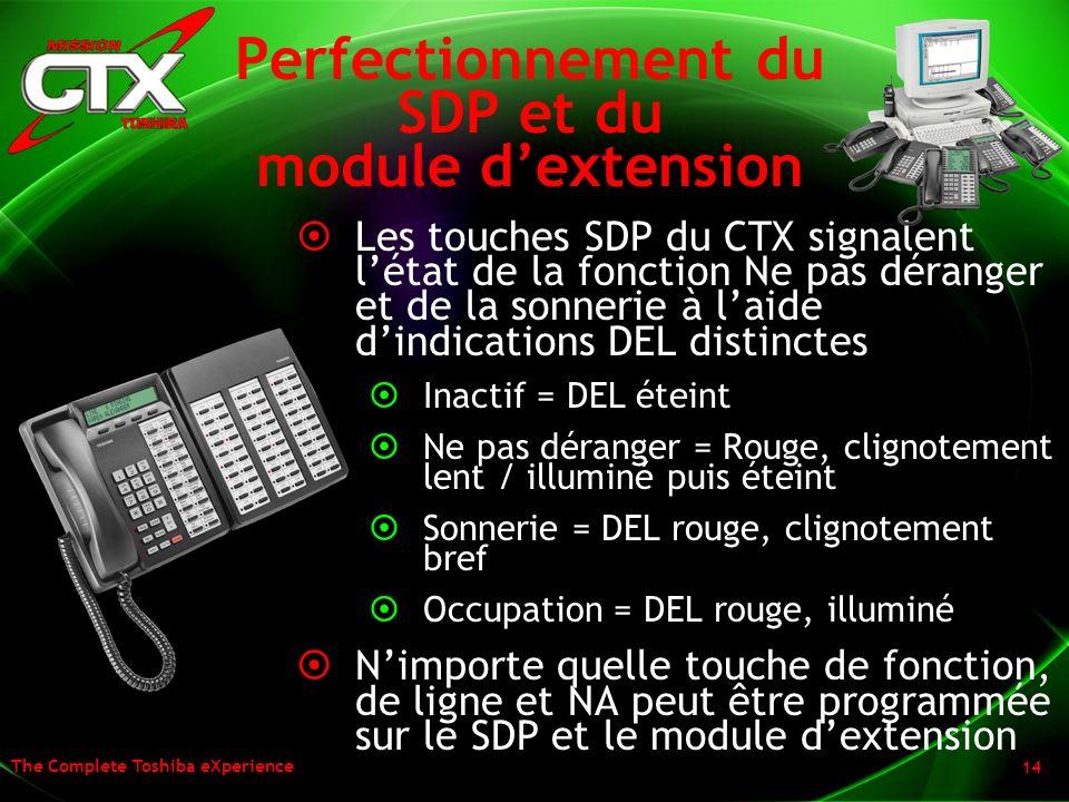 The Complete Toshiba eXperience 14 Perfectionnement du SDP et du module dextension Les touches SDP du CTX signalent létat de la fonction Ne pas dérang