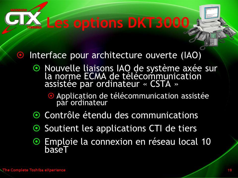 The Complete Toshiba eXperience 19 Les options DKT3000 Interface pour architecture ouverte (IAO) Nouvelle liaisons IAO de système axée sur la norme EC