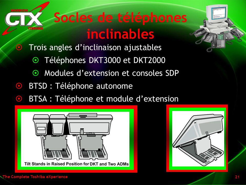 The Complete Toshiba eXperience 21 Socles de téléphones inclinables Trois angles dinclinaison ajustables Téléphones DKT3000 et DKT2000 Modules dextens