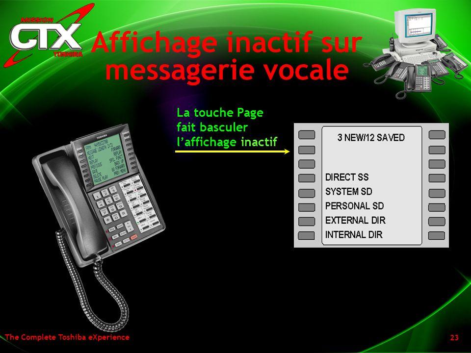 The Complete Toshiba eXperience 23 Affichage inactif sur messagerie vocale La touche Page fait basculer laffichage inactif