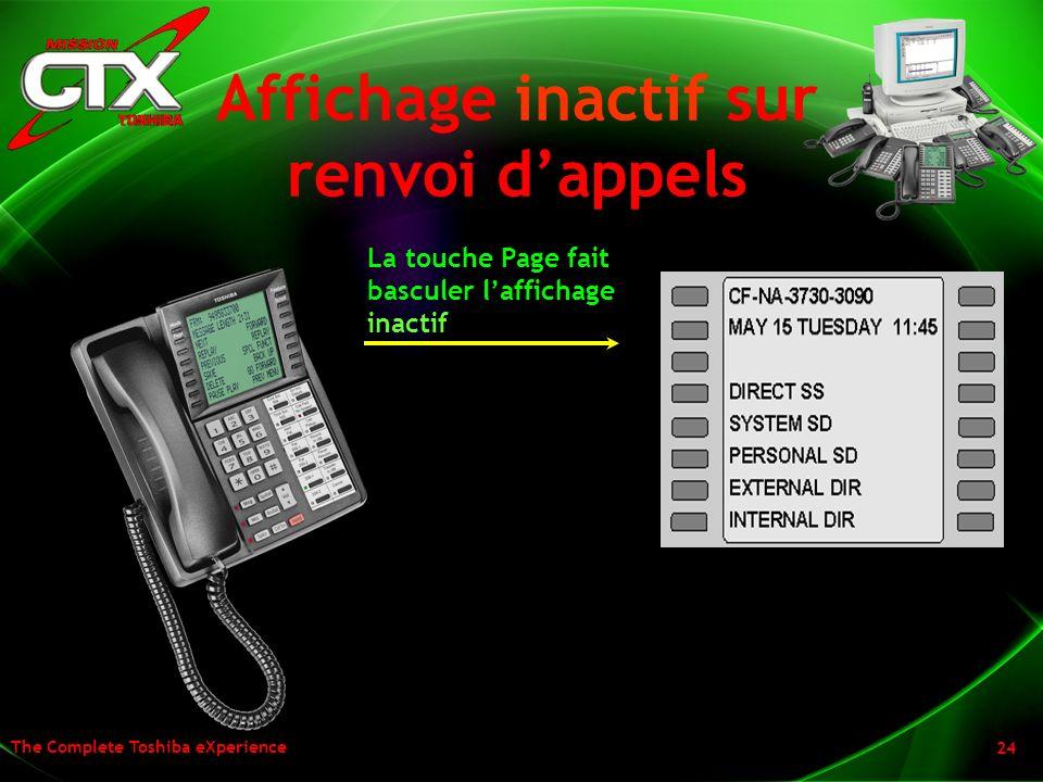 The Complete Toshiba eXperience 24 Affichage inactif sur renvoi dappels La touche Page fait basculer laffichage inactif