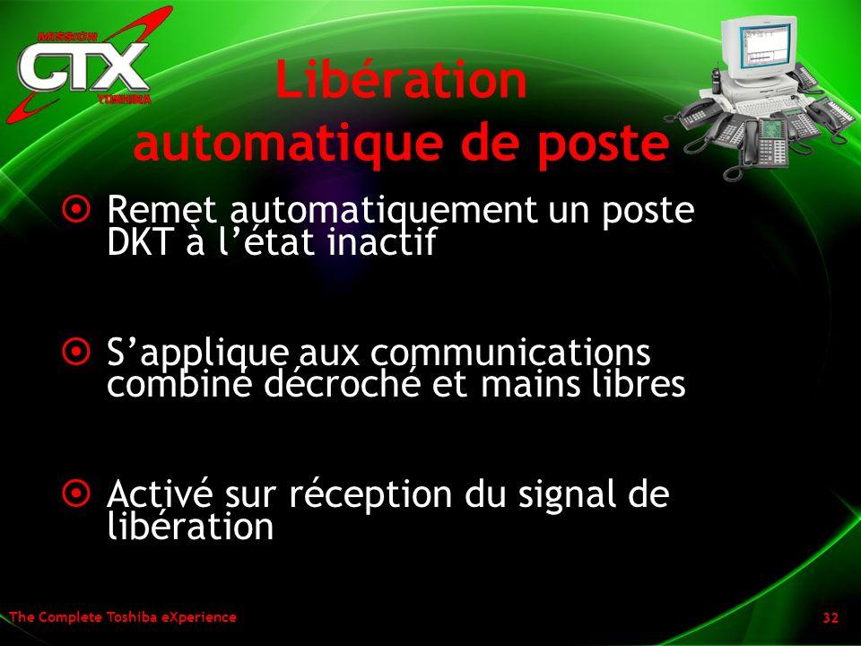 The Complete Toshiba eXperience 32 Libération automatique de poste Remet automatiquement un poste DKT à létat inactif Sapplique aux communications com