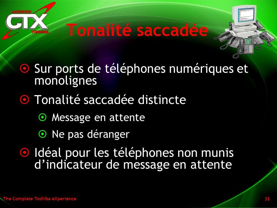 The Complete Toshiba eXperience 35 Tonalité saccadée Sur ports de téléphones numériques et monolignes Tonalité saccadée distincte Message en attente N