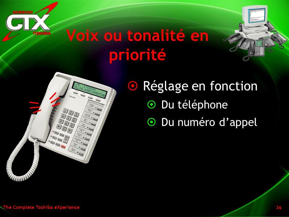 The Complete Toshiba eXperience 36 Voix ou tonalité en priorité Réglage en fonction Du téléphone Du numéro dappel
