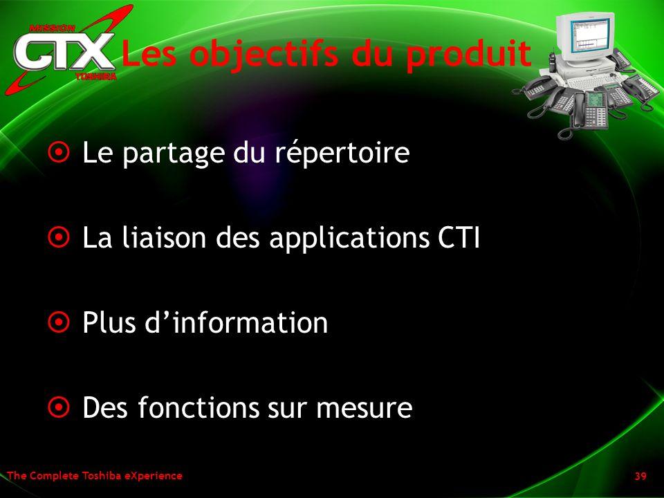 The Complete Toshiba eXperience 39 Les objectifs du produit Le partage du répertoire La liaison des applications CTI Plus dinformation Des fonctions s