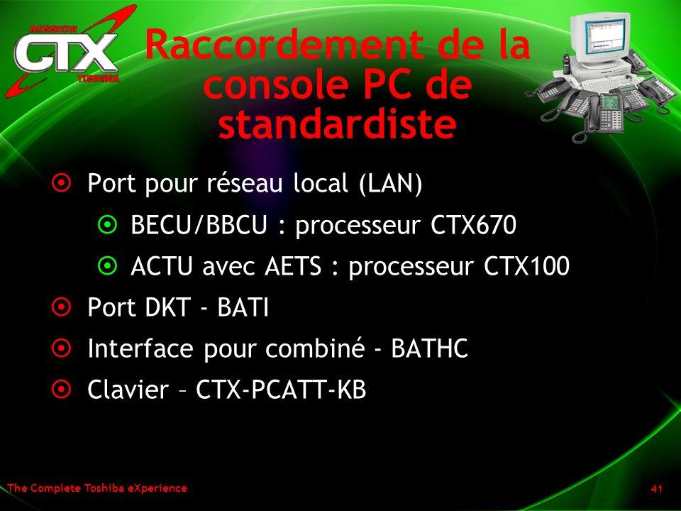 The Complete Toshiba eXperience 41 Raccordement de la console PC de standardiste Port pour réseau local (LAN) BECU/BBCU : processeur CTX670 ACTU avec