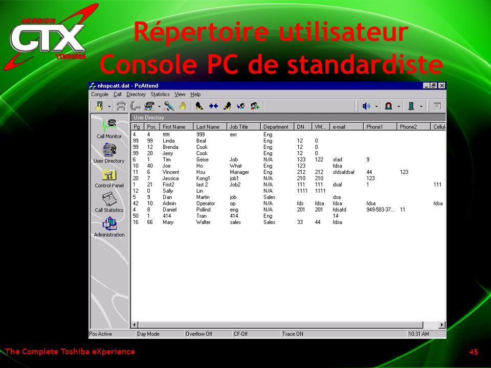 The Complete Toshiba eXperience 45 Répertoire utilisateur Console PC de standardiste