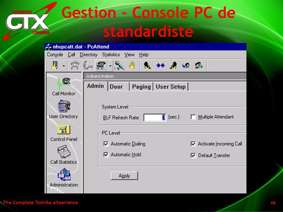 The Complete Toshiba eXperience 46 Gestion – Console PC de standardiste