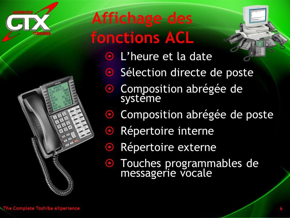 The Complete Toshiba eXperience 6 Affichage des fonctions ACL Lheure et la date Sélection directe de poste Composition abrégée de système Composition