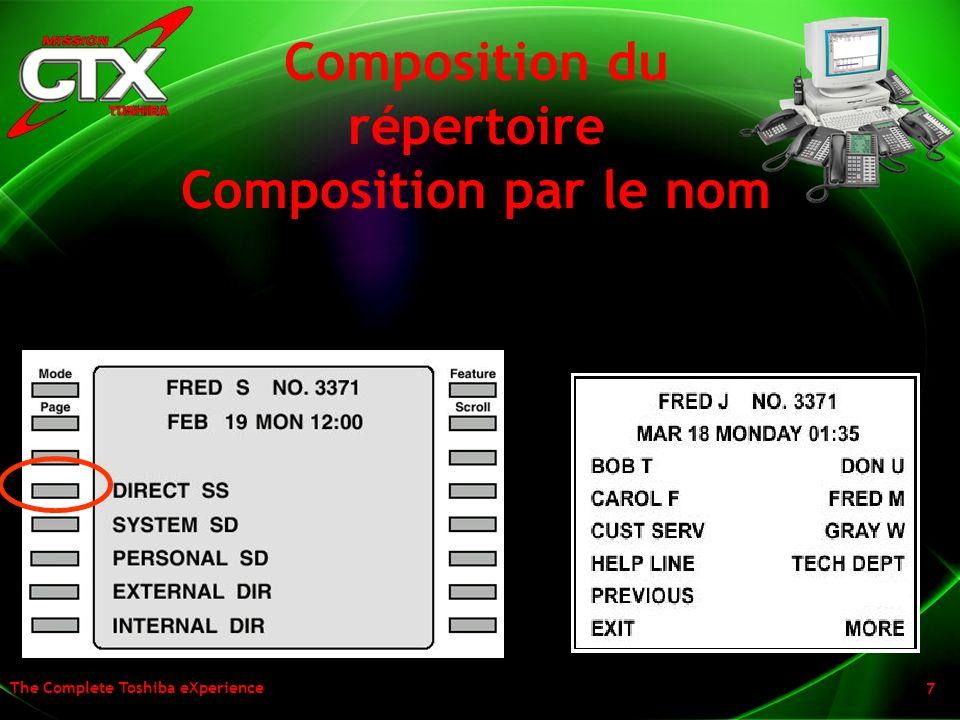 The Complete Toshiba eXperience 7 Composition du répertoire Composition par le nom