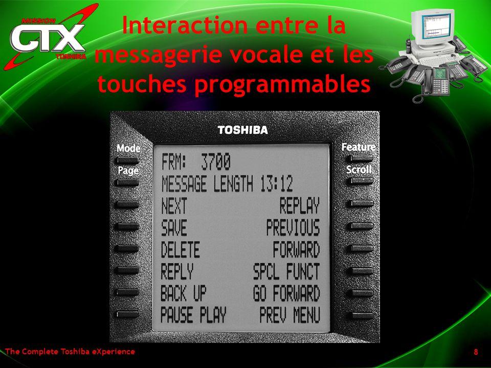 The Complete Toshiba eXperience 8 Interaction entre la messagerie vocale et les touches programmables