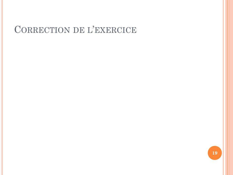 C ORRECTION DE L EXERCICE 19