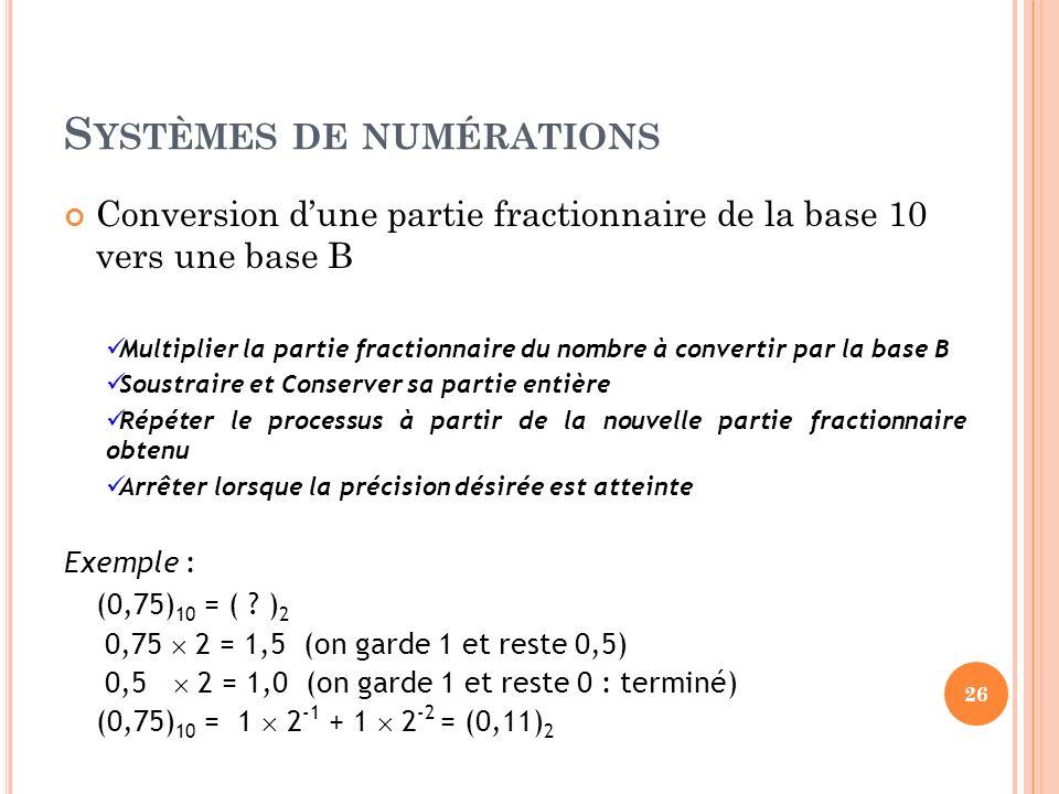 S YSTÈMES DE NUMÉRATIONS Conversion dune partie fractionnaire de la base 10 vers une base B Multiplier la partie fractionnaire du nombre à convertir p