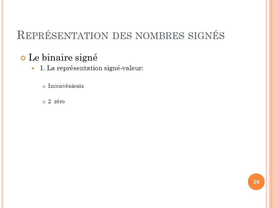 R EPRÉSENTATION DES NOMBRES SIGNÉS Le binaire signé 1. La représentation signé-valeur: Inconvénients 2 zéro 39