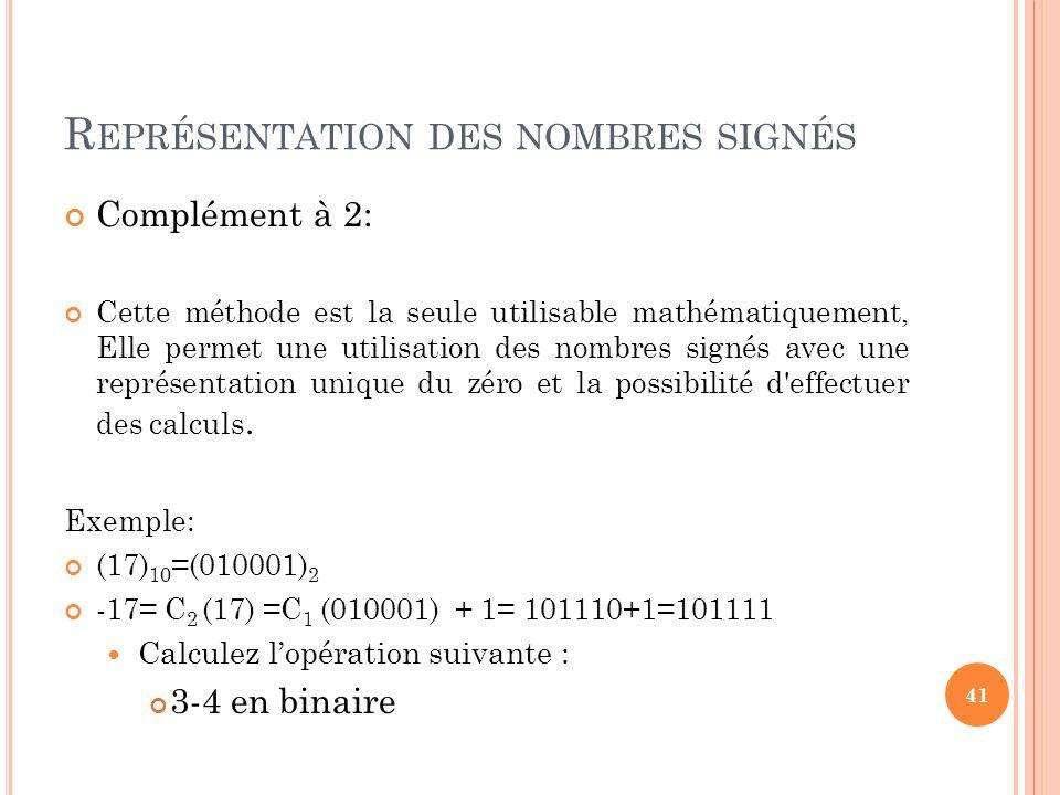 R EPRÉSENTATION DES NOMBRES SIGNÉS Complément à 2: Cette méthode est la seule utilisable mathématiquement, Elle permet une utilisation des nombres sig