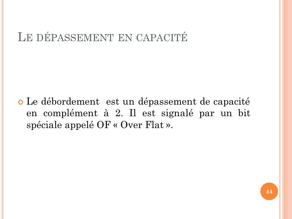 44 L E DÉPASSEMENT EN CAPACITÉ Le débordement est un dépassement de capacité en complément à 2. Il est signalé par un bit spéciale appelé OF « Over Fl