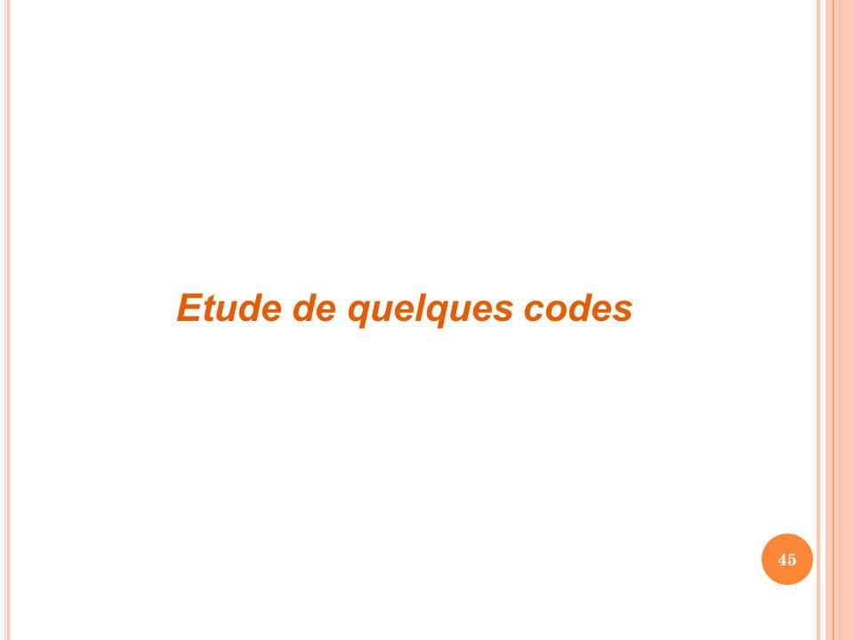 45 Etude de quelques codes