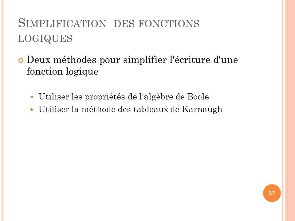 S IMPLIFICATION DES FONCTIONS LOGIQUES Deux méthodes pour simplifier l'écriture d'une fonction logique Utiliser les propriétés de l'algèbre de Boole U